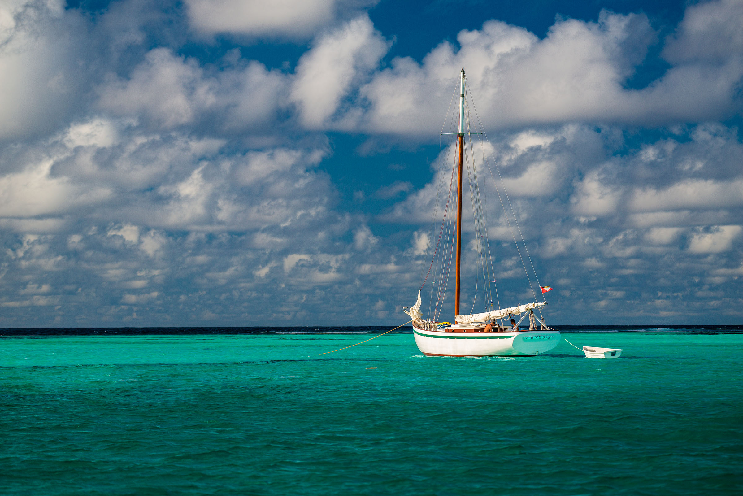 Sailboat at anchor in the caribbean
